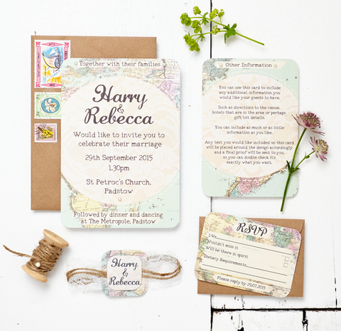 Travel Inspired Map Wedding Invitation Set - Rebecca