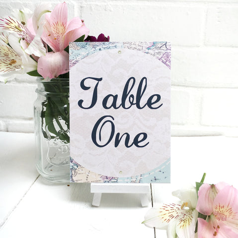 Travel Inspired Wedding Table Name or Number Card