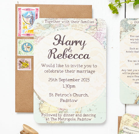 Travel Inspired Map RSVP's - Kaylea