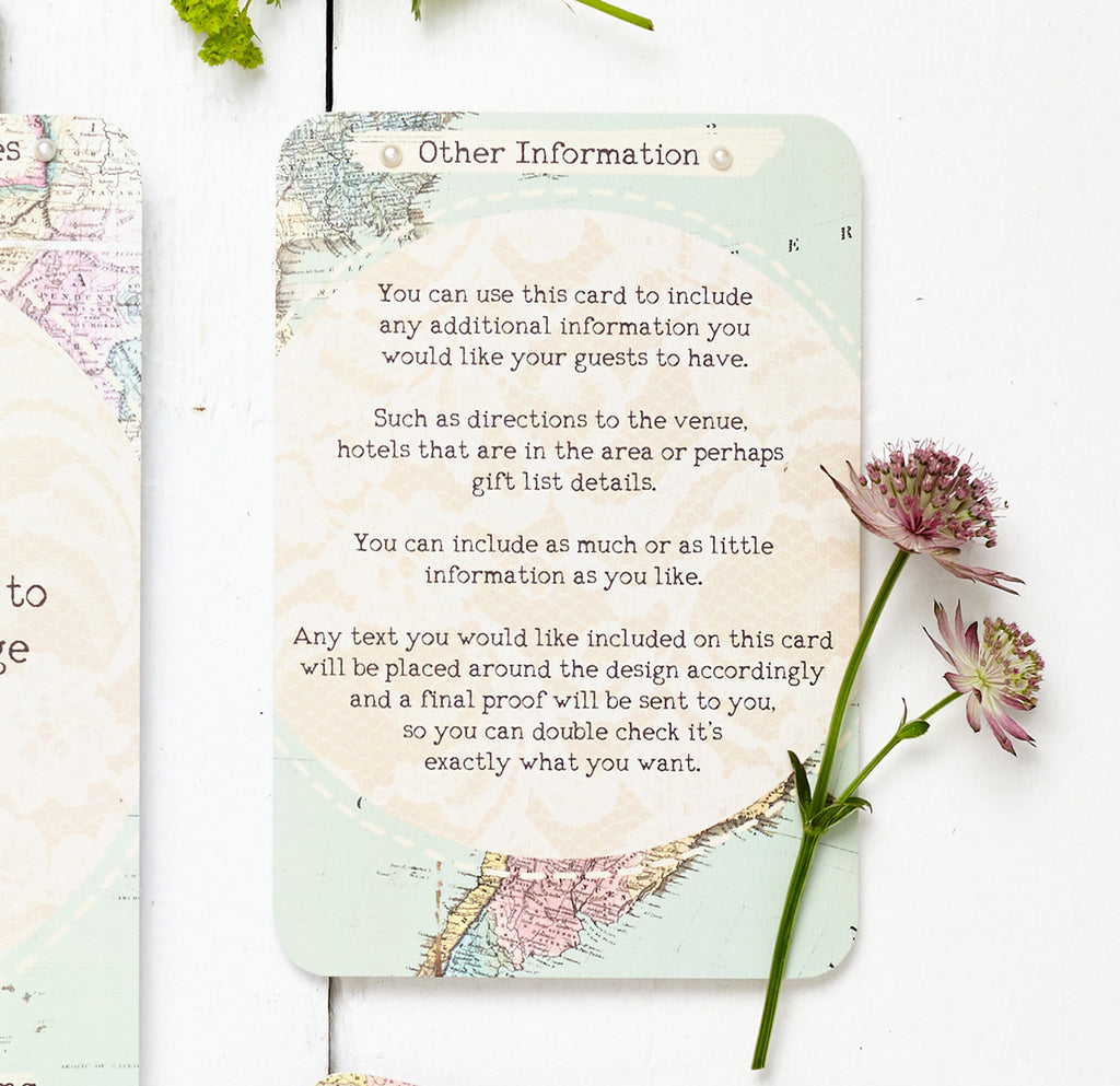 Travel Inspired Map Wedding Invitation Set by Peardrop Avenue