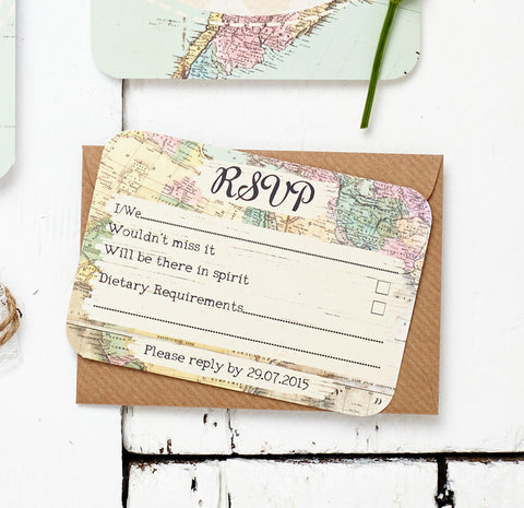 Travel Inspired Map Wedding Invitation Set