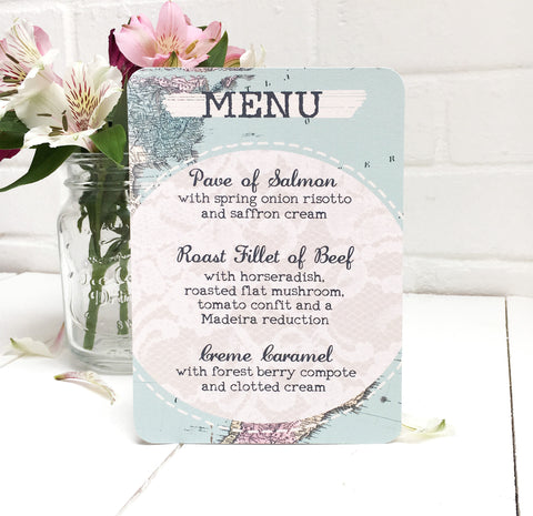 Travel Inspired Wedding Breakfast Menu