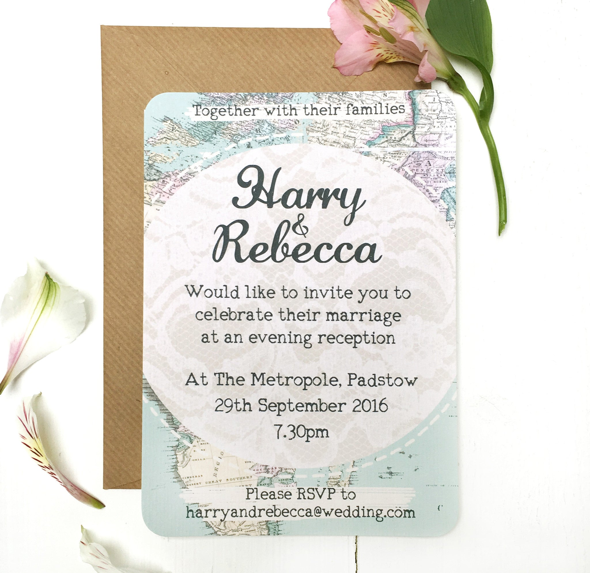 Travel Inspired Evening Wedding Reception Invitation by Peardrop Avenue