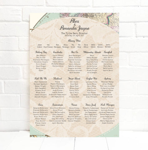 Travel Inspired Map Wedding Seating Table Plan