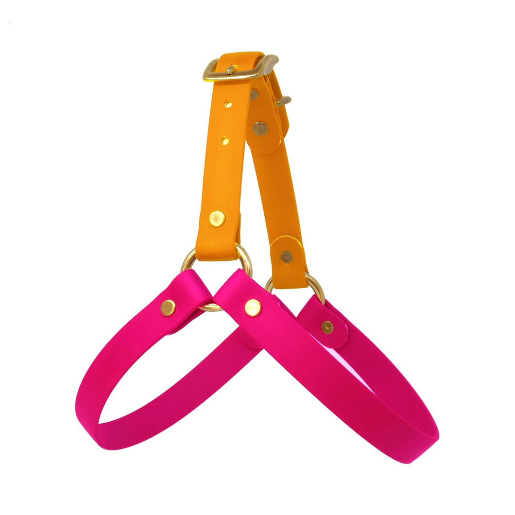 Wag Swag - Vegan Leather Harness Pink and Orange