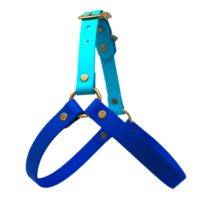 Wag Swag - Vegan Leather Harness Two Tone Blue