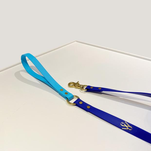 Wag Swag - Two Tone Vegan Leather Leash | Royal Blue and Baby Blue