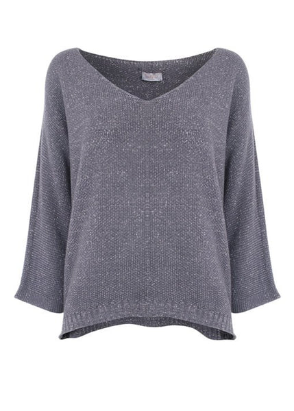 SUZY D LONDON KNIT SPARKLE SWEATER - GREY - 26110GRY
