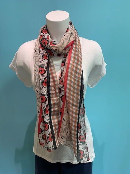 *SALE* VIVANTE SCARF BLACK AND RED - 1345