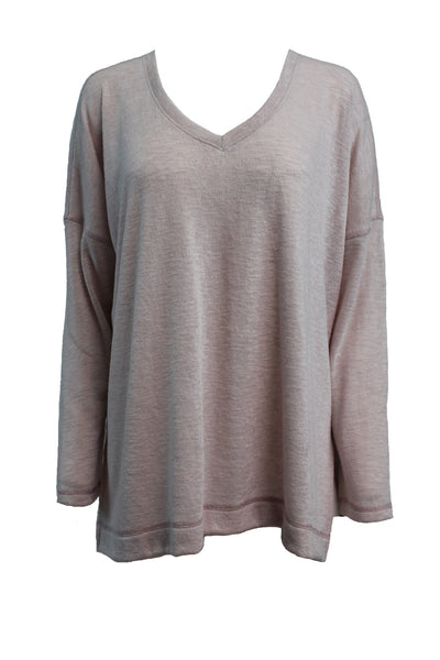 *SALE* NALLY & MILLIE LONG-SLEEVE V-NECK TOP - PINK - N284208