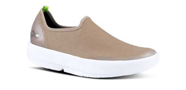 OOFOS OOMG EEZEE LOW SHOE - WHITE & TAUPE - 5072TAU