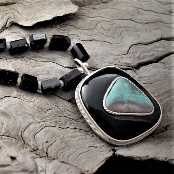 JACOBS STONE IMPRESSIONS BLACK JADE & OPAL NECKLACE- JS536