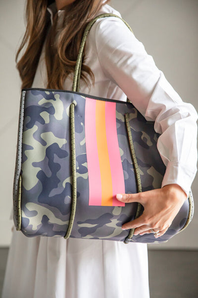 PARKER & HYDE TOTE - GREEN CAMO W/ PINK & ORANGE STRIPE - GRNCAMOPNKSTR