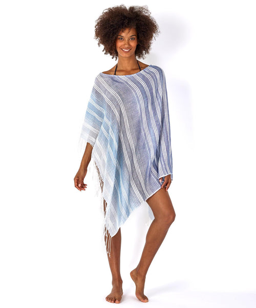 ECHODESIGN GROUP TEXTURED STRIPE PONCHO BLUE MULTI - 867000433