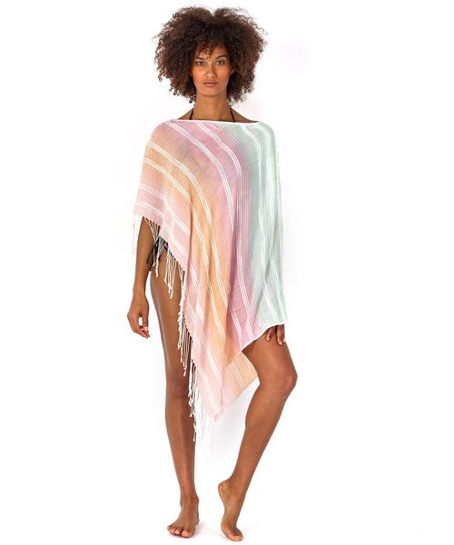 ECHODESIGN GROUP TEXTURED STRIPE PONCHO CORAL MULTI - 867000686