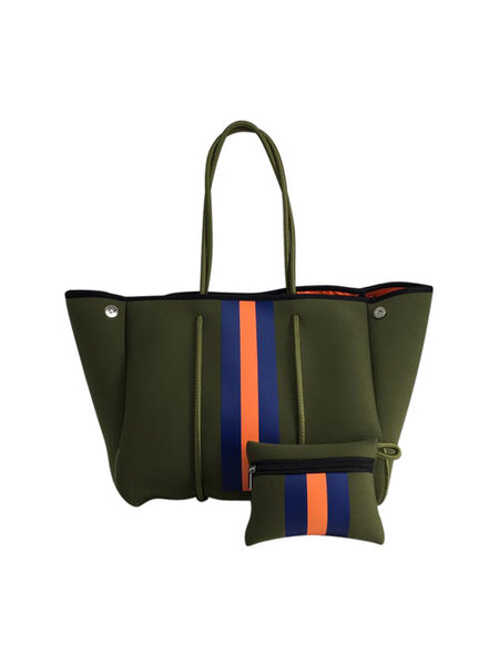 PARKER & HYDE TOTE - ARMY GREEN W/ ORANGE STRIPE - ARMYORGSTR