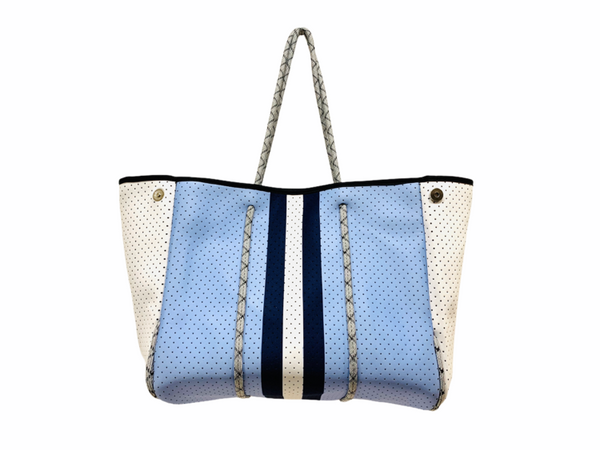 PARKER & HYDE TOTE - BLUE W/ NAVY STRIPE  - BLUENVYSTR