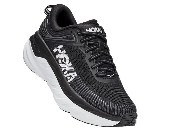 HOKA ONE ONE BONDI 7- WIDE - BLACK AND WHITE - 1110531BWHT