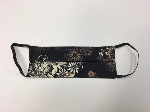 CLOTH FACE MASK - FLORAL BLACK BROWN