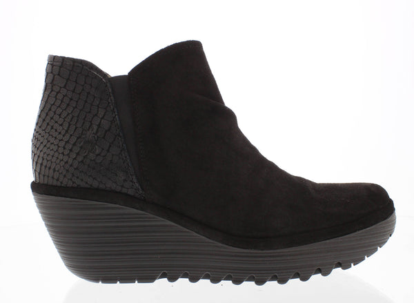 FLY LONDON YAMY SDE/CROC BLACK - YAMYBLK