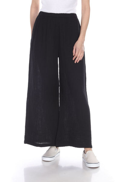 HONEST COTTON LONG PALAZZO PANT - BLACK - P300LCCBLK