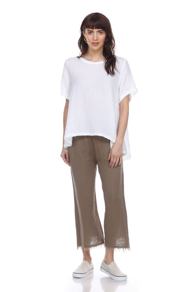 HONEST COTTON TUSCAN TOP - WHITE - T119CCWH