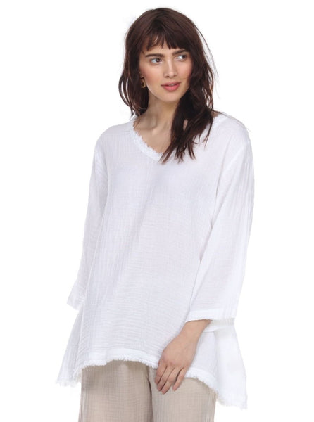 HONEST COTTON FRAYED TUNIC - WHITE - T241CCWHT