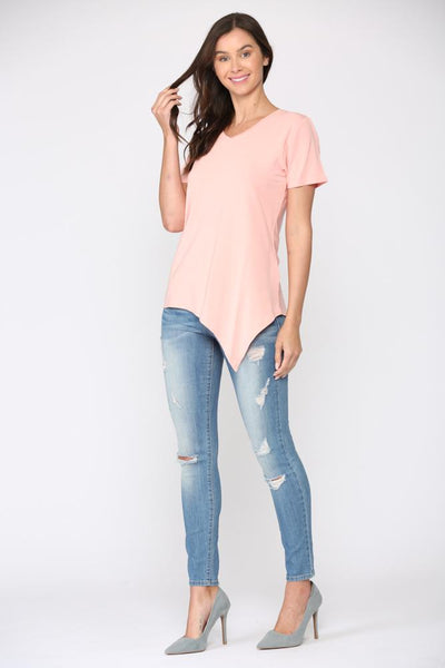 JOH KENDALL SHORT-SLEEVE KNOT TEE - CORAL - K8621VCOR