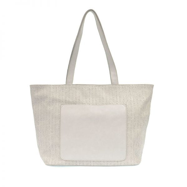 JOY ACCESSORIES WOVEN GETAWAY TOTE- SOFT GREY - L808010