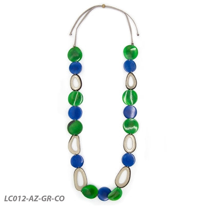 TAGUA ROMINA NECKLACE Royal Blue/Green/Charcoal - LC012AZGRCO