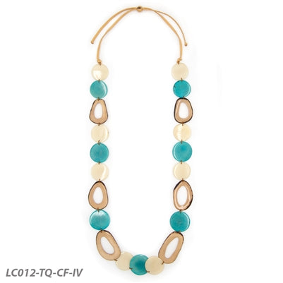 TAGUA ROMINA NECKLACE Turquoise/Cafe con Leche/Ivory - LC012TQCFIV