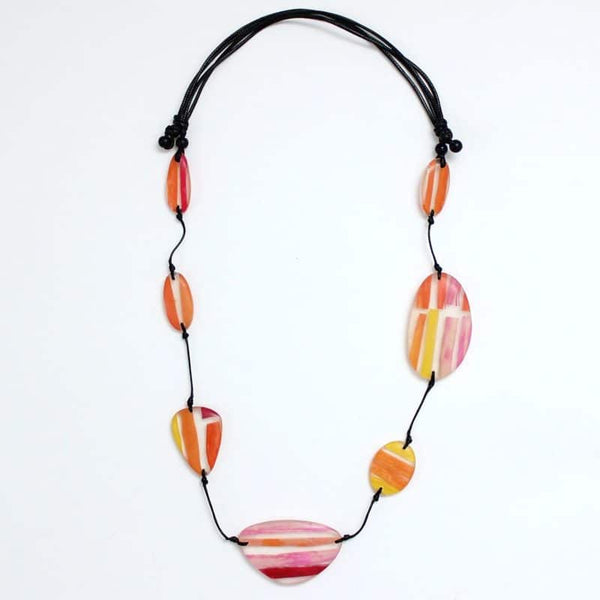 SYLCA EMBER GEOMETRIC NECKLACE - ORANGE MULTI - LS21N04ORG