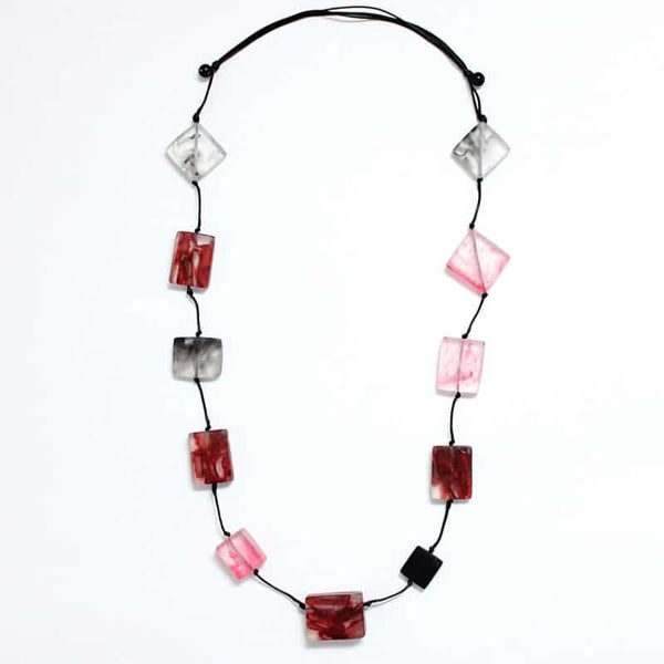 SYLCA FROSTED NATALIA NECKLACE - RED MULTI - LS21N20RED