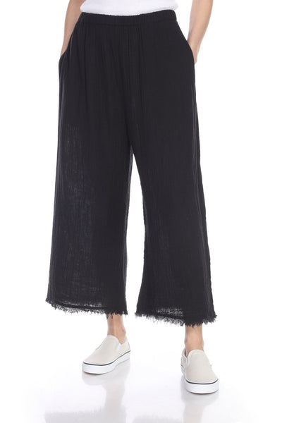 HONEST COTTON FRAYED CROP PALAZZO - BLACK - P200CCCBLK