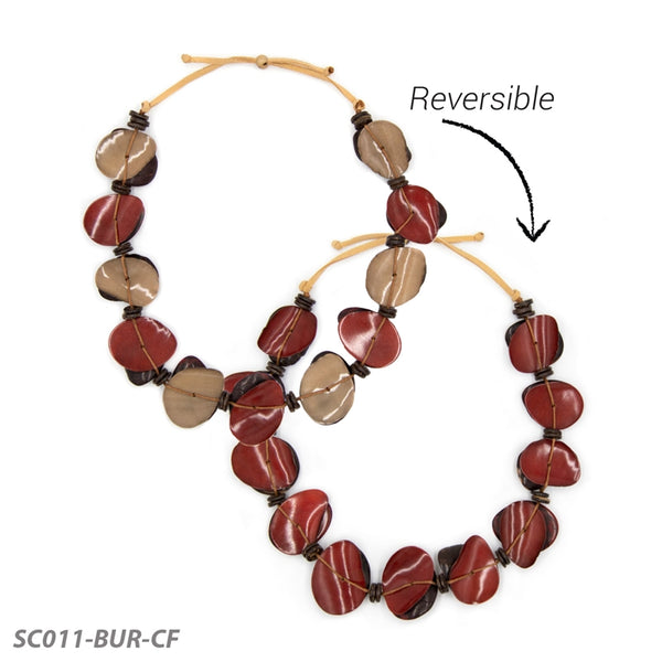 TAGUA NARCISA NECKLACE - BURGUNDY MUTLI - SC011BURCF