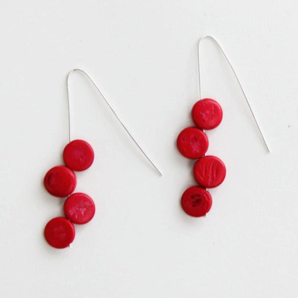 SYLCA EVA DANGLE EARRINGS - RED - SD18E50RED