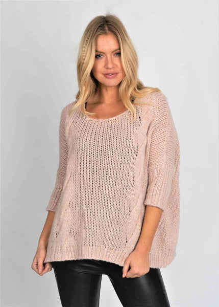 SUZY D LONDON CABLE KNIT CHUNKY SWEATER - PINK  - FIONA17
