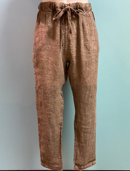 SUZY D LONDON LINEN DRAWSTRING PANT - 168157L05