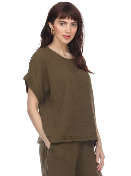HONEST COTTON BOXY TEE - OLIVE - T204CCOL