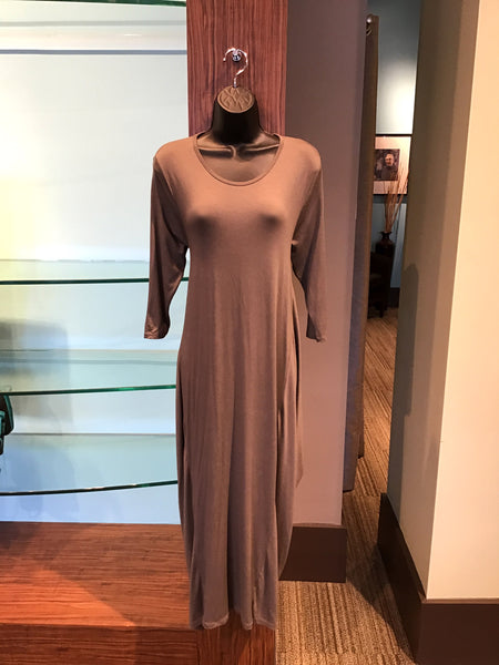 SAGA VISCOSE DRESS LONG - TAUPE - 753BBTPE