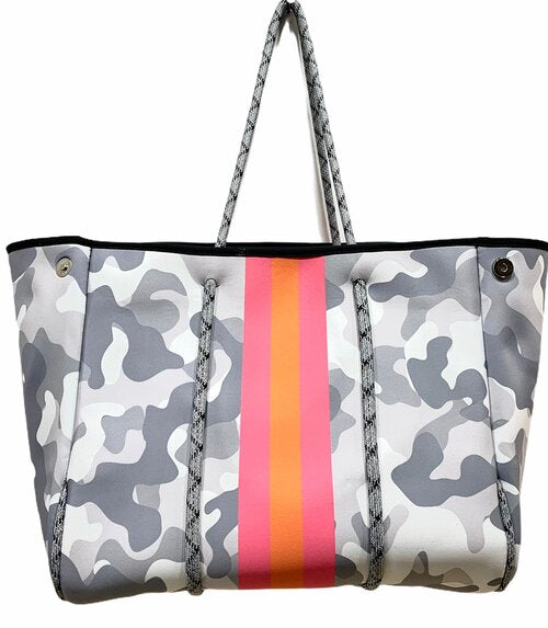 PARKER & HYDE TOTE - WHITE CAMO W/ PINK & ORANGE STRIPE- WCAMONEOSTR