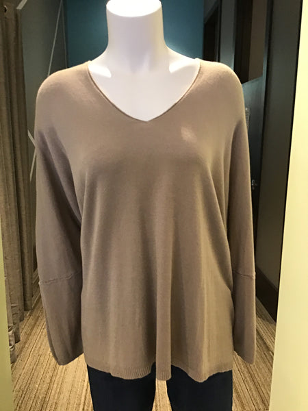 WEAR IT WELL VNECK FINE KNIT - TAUPE - 317VNECKTAU