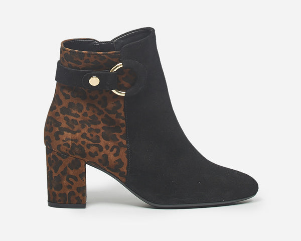 GABOR / KANNER CHEETAH BACK BOOTIE BLACK AND BROWN - 3580034