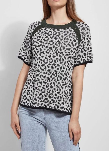 LYSSE LUCY SWEATER GREY LEOPARD - 2447179