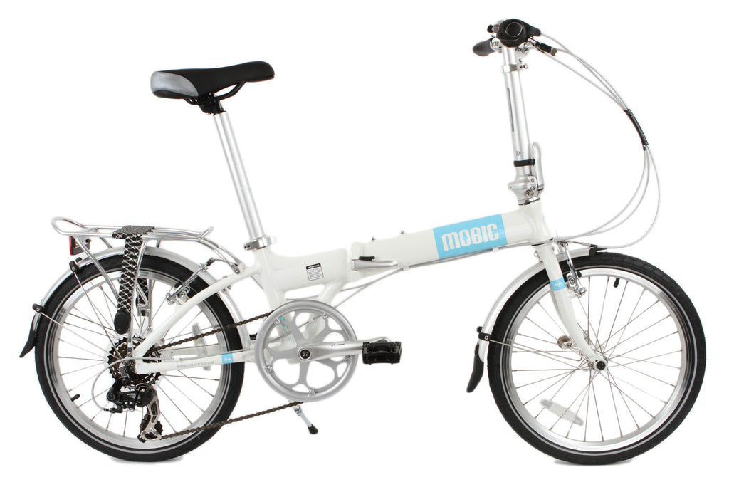MOBIC City X7 - Portable Aluminum Folding Bike (White & Blue)