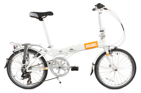 MOBIC City X7 - Portable Aluminum Folding Bike (White & Orange)