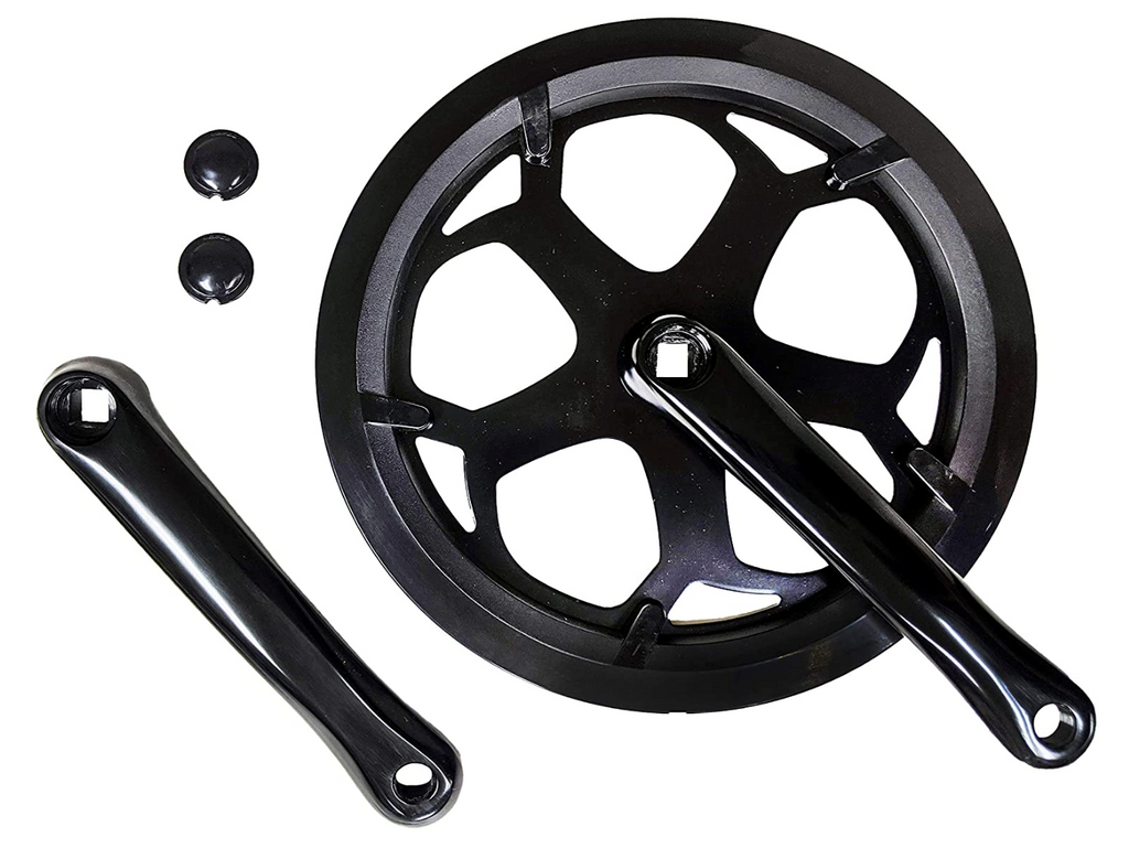 Lasco 56T forged crank set, chain guard fits ebikes, folding bicycles - black