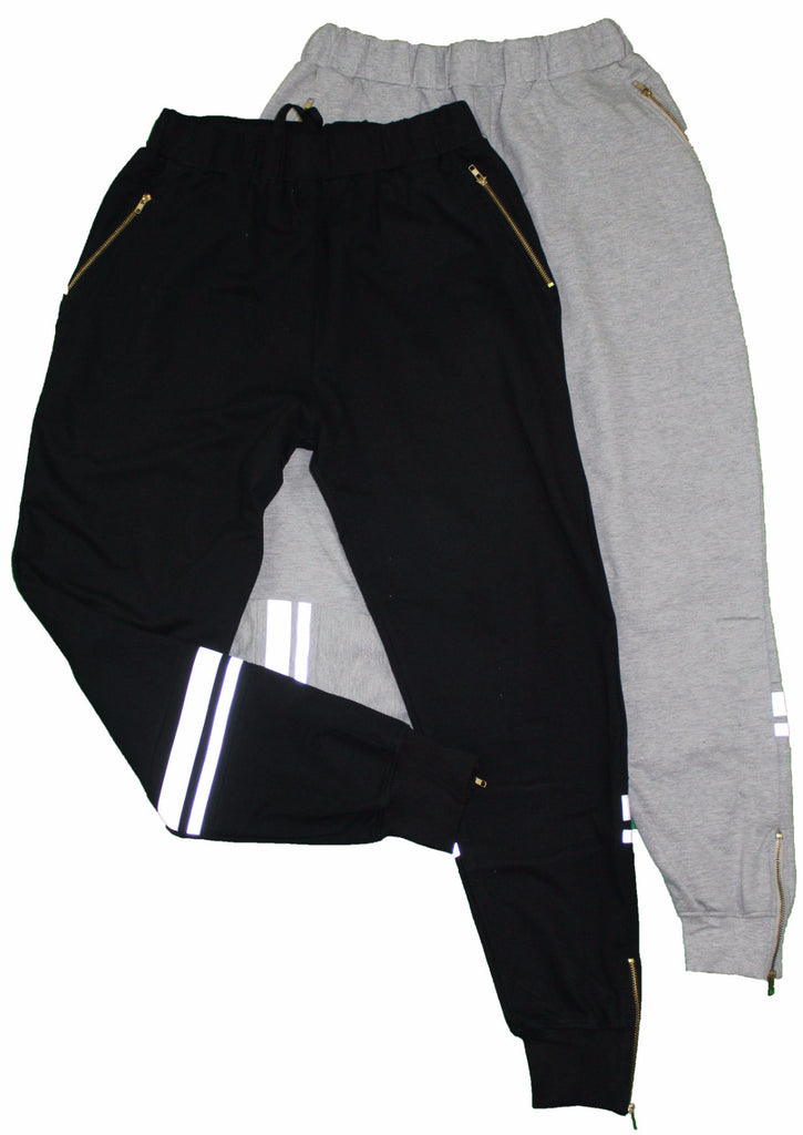 Reflective Zippered Men's Sweatsuit Joggers