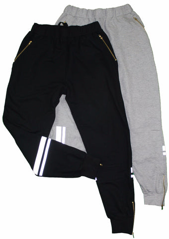 White fleece chenile patch joggers