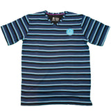 Mercerized Men's V-Neck Tee : Blue Multi-color Stripe